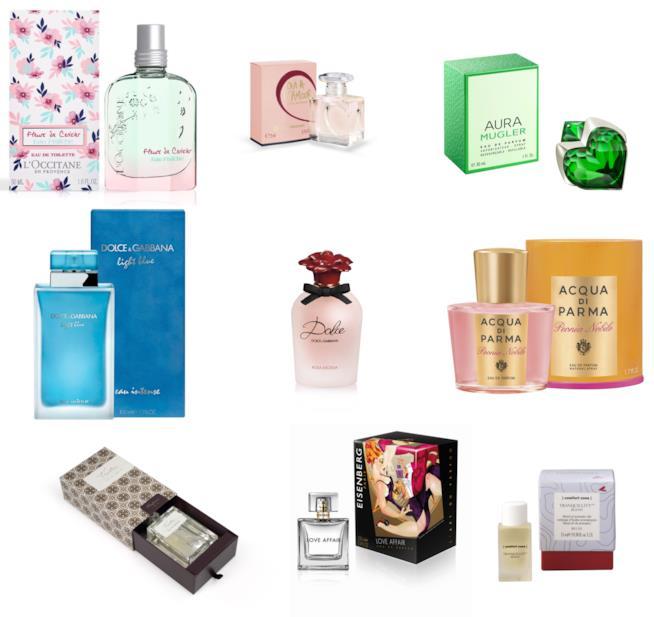 Confezioni di profumi di vari brand
