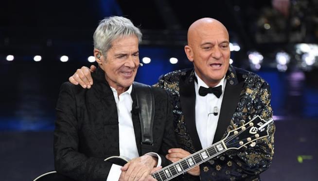 Claudio Bisio a Sanremo con Baglioni