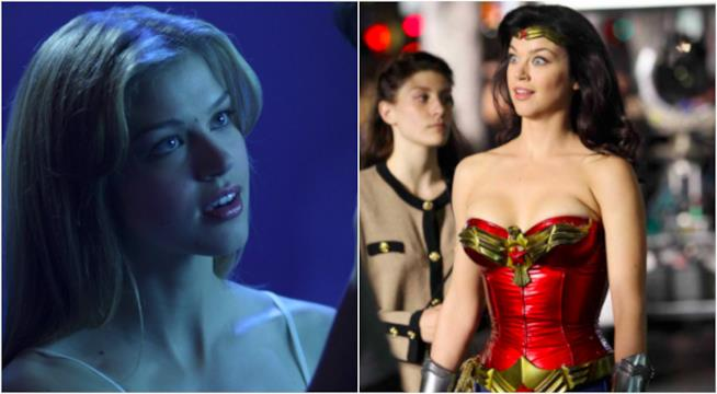 Collage tra Adrianne Palicki in serie DC e Marvel