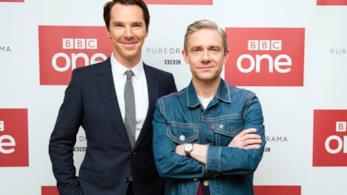Benedict Cumberbatch e Martin Freeman ad un evento per Sherlock