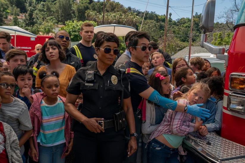 Una scena della serie TV 911