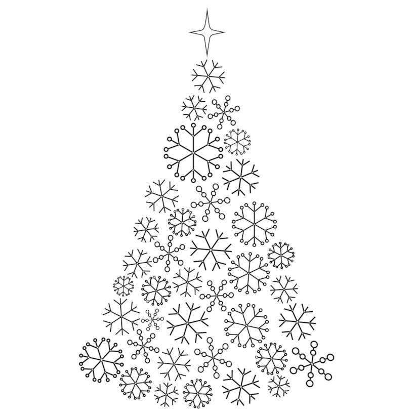 Albero di Natale dal design semplice formato da fiocchi di neve