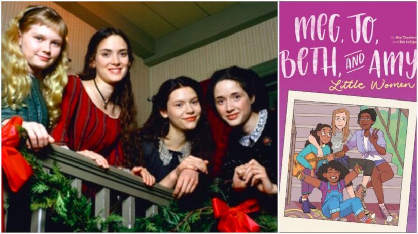 Collage tra film piccole donne e graphic novel