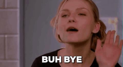 GIF con Kirsten Dunst che fa bye bye con la mano