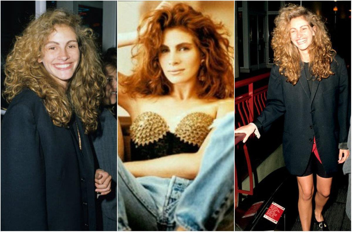 Un collage con look anni '80 di Julia Roberts