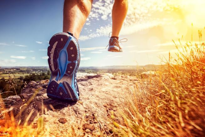 Dettaglio di gambe maschili impegnate nella corsa