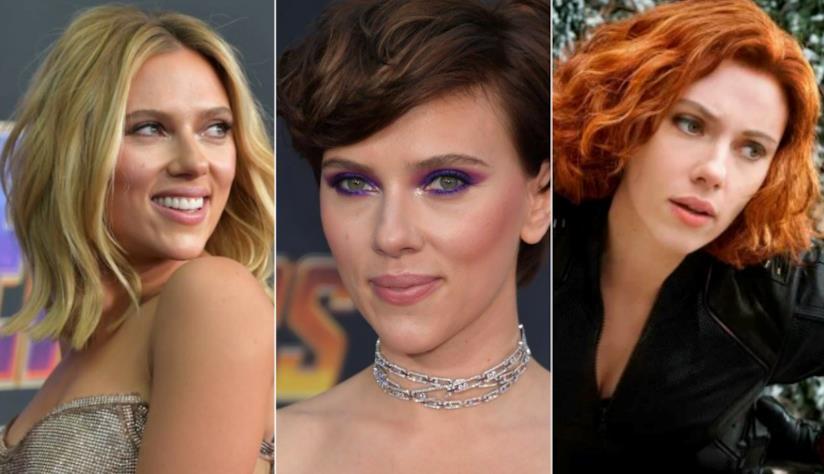 Collage di 3 acconciature di Scarlett Johansson