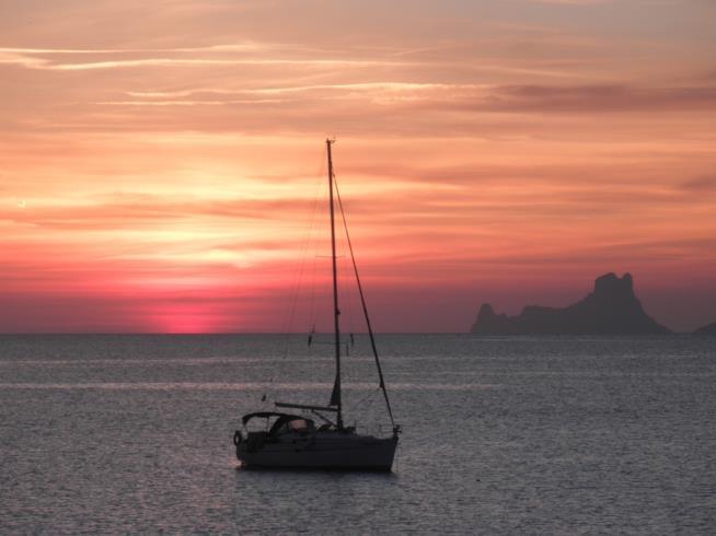 I colori del tramonto sul mare di Formentera