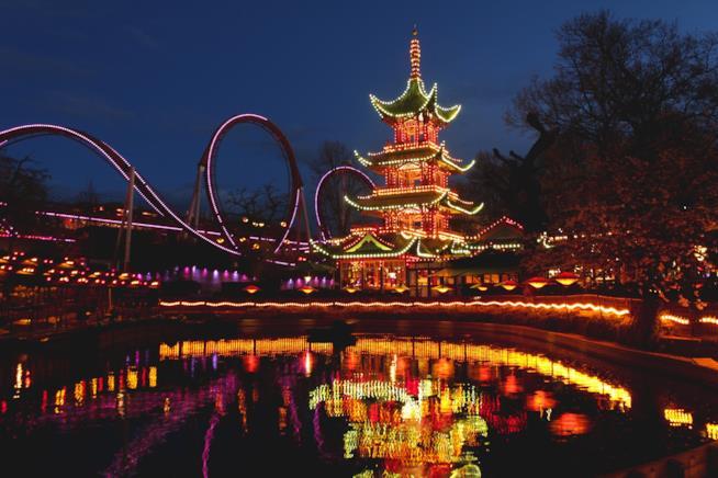 Vista notturna dei Giardini di Tivoli