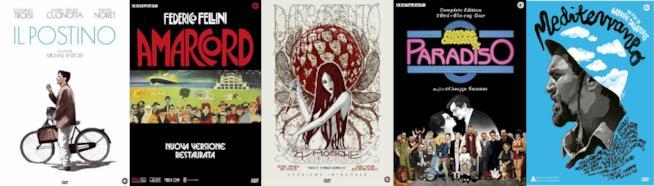 Nuove edizioni speciali home video di Il Postino, Amarcord,4 mosche di velluto grigio,Nuovo cinema Paradiso, Mediterraneo