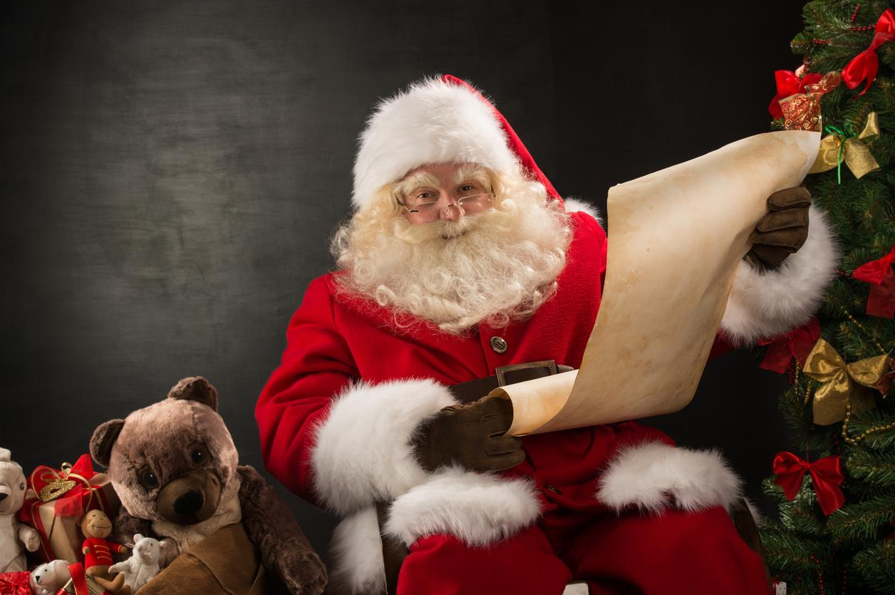 Babbo Natale legge la lista