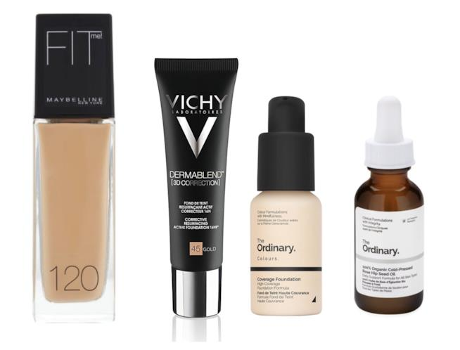 Fit Me Maybelline, Vichy Dermablend e Coverage Foundation The Ordinary