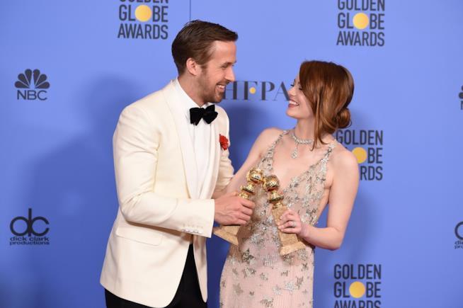 Emma Stone e Ryan Gosling ai Golden Globe