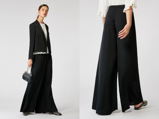 I pantaloni palazzo neri di moda per l'inverno 2018