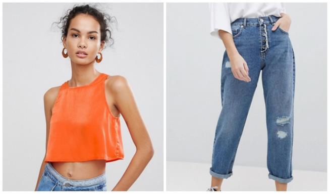 Collage di top e jeans anni '90