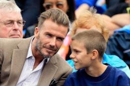 David Beckham con uno dei suoi figli