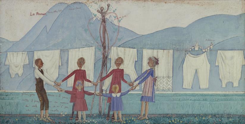 Alberto Magri Il bucato, 1913 tempera su tavola, cm 46x314 collezione privata