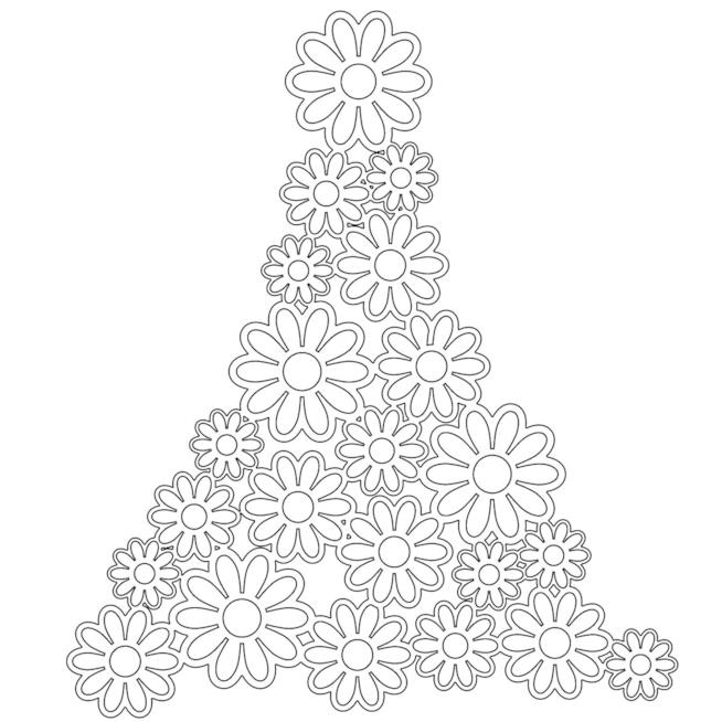 Albero di Natale formato da margherite