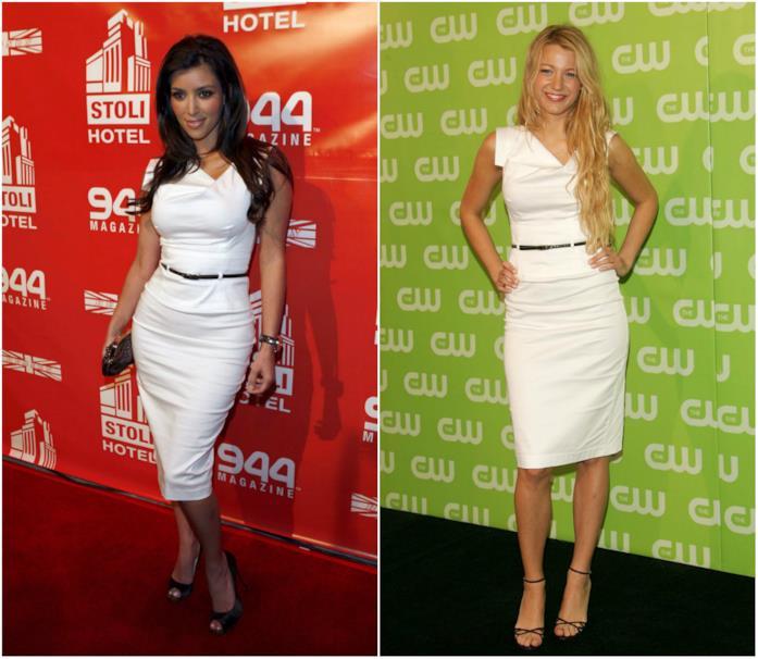Collage di Kim Kardashian e Blake Lively con tubino uguale a Meghan Markle