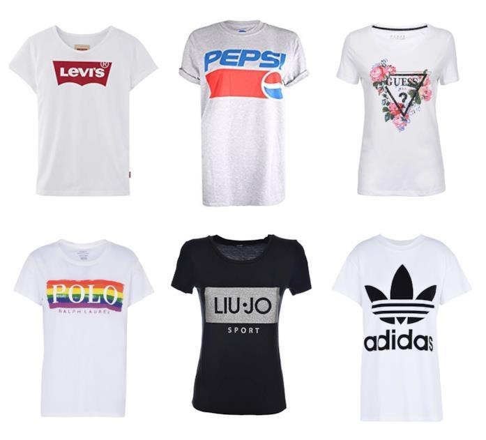 Magliette con i loghi di tendenza per l'estate 2018