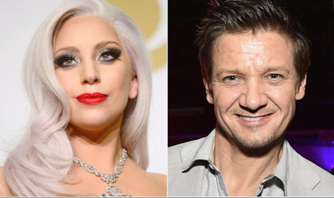 Lady Gaga e Jeremy Renner in un collage