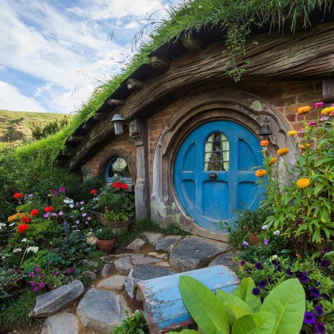 Casa degli Hobbit nel villaggio di Hobbiton in Nuova Zelanda