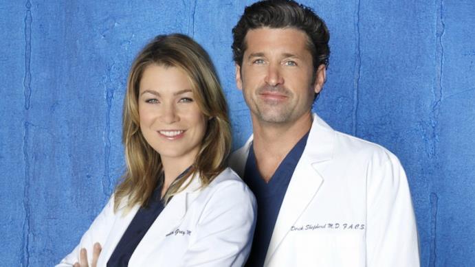 Meredith e Derek in una foto promozionale di Grey's Anatomy