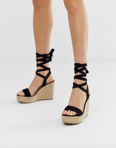 Zeppe nere lace-up