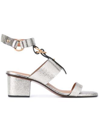 Sandalo Chloé argentato tacco medio