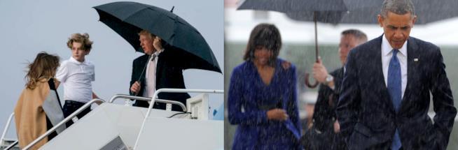 Melania Trump e Michelle Obama con i mariti