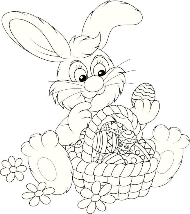 Coniglio con il cestino pieno di uova di Pasqua