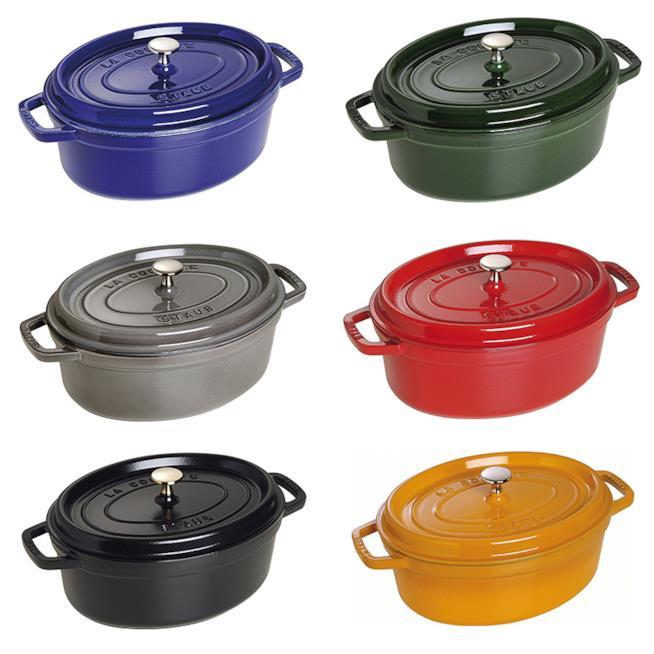 Staub cocotte ovale 29 cm, blu, verde, grigia, rosso, nero, arancione