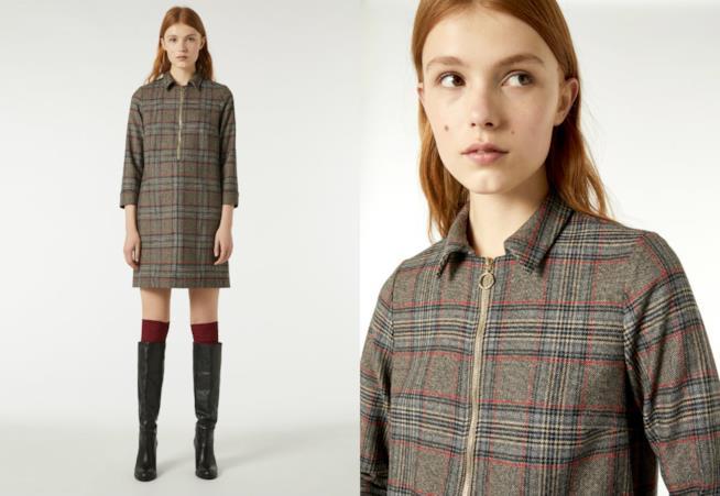 Vestito corto in flanella di tendenza a quadretti scozzesi