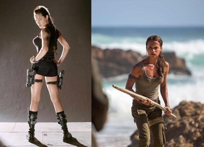 Le due incarnazioni di Lara Croft al cinema: Angelina Jolie e Alicia Vikander