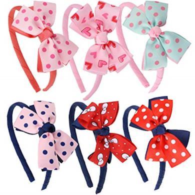 Cerchietti per bambine realizzati a mano con fiocco a pois