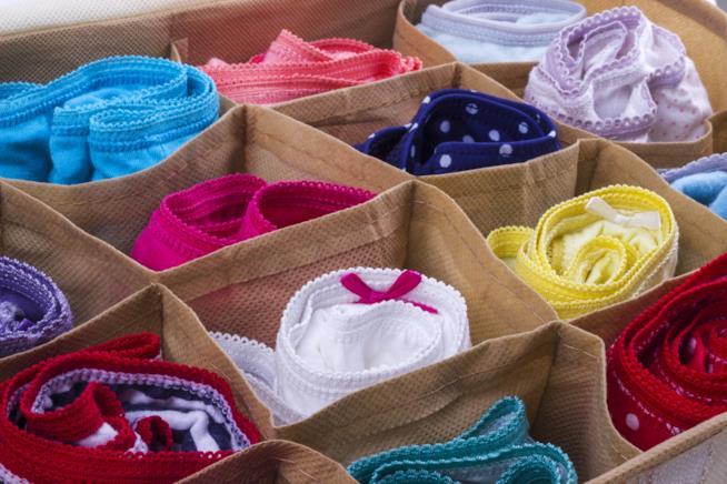 Contenitore in tessuto con scomparti per biancheria intima