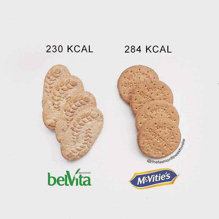 Biscotti di marche diverse e relative calorie