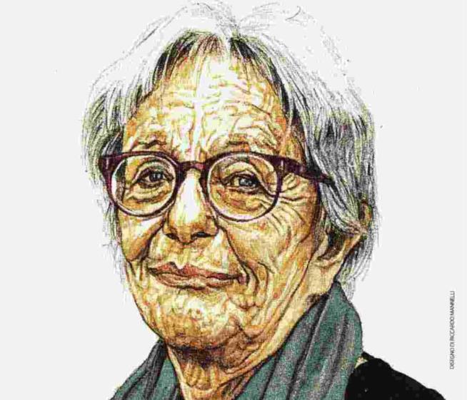 Laura Lepetit raffigurata in un disegno