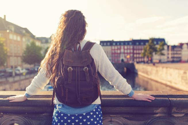 Una ragazza su un ponte osserva il paesaggio