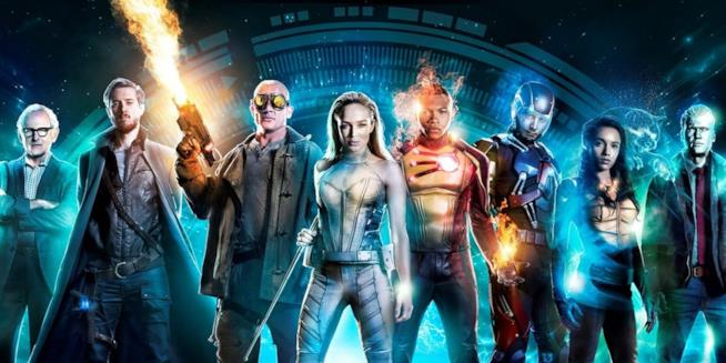 Stein, Rip, Mick, Sara, Jax, Ray, Amaya e Nathan nel poster di Legends of Tomorrow