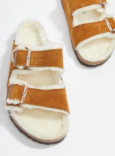 Sandali visone con interno in lana