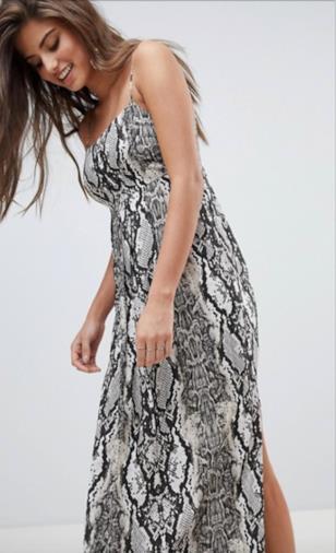 Vestito lungo a pieghe con stampa effetto serpente