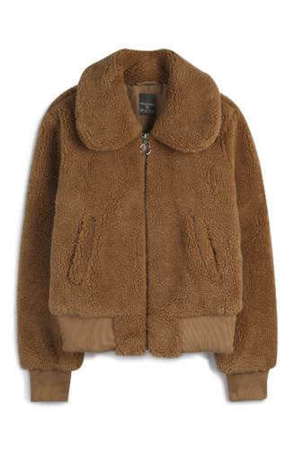 Bomber color cuoio in sherpa