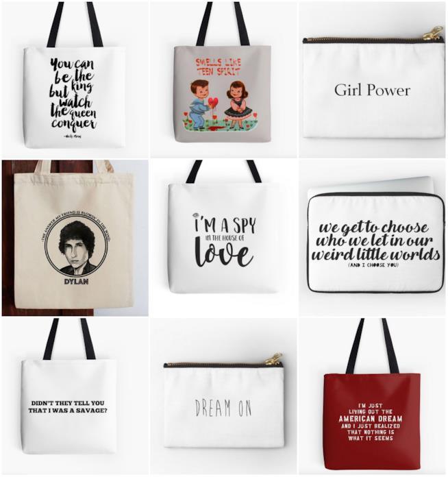 Collage di borse con citazioni musicali