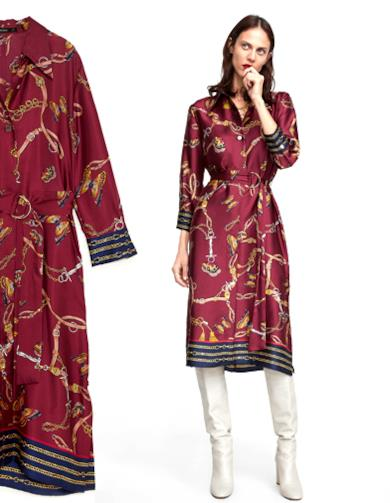 Vestito chemisier con stampa catene Multicolore