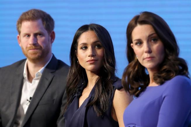 Meghan Markle con Harry e Kate Middleton