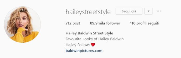 profilo instagram Hailey Baldwin