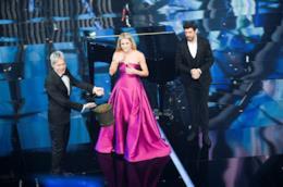 Claudio Baglioni, Michelle Hunziker e Pierfrancesco Favino a Sanremo 2018