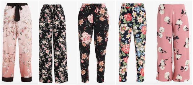 Collage di pantaloni a fiori