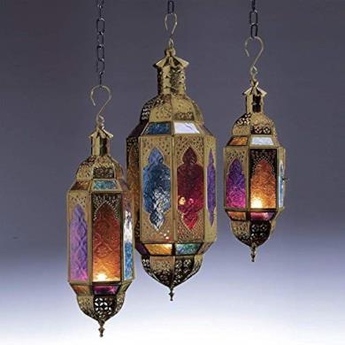 Grande lanterna in oro e vetro multicolore